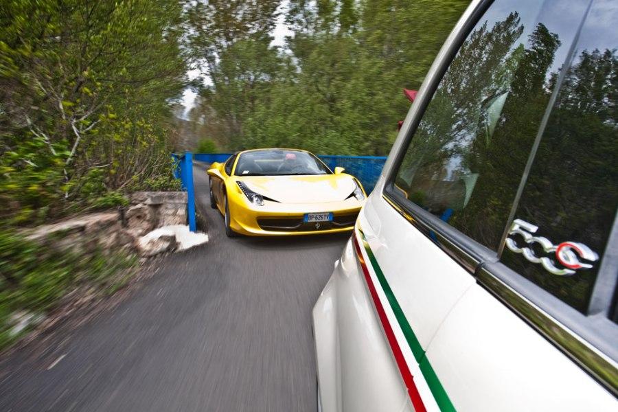 Fiat 500 vs Ferrari