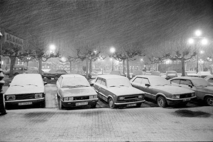 Tormenta de nieve. Pamplona. Años 80.